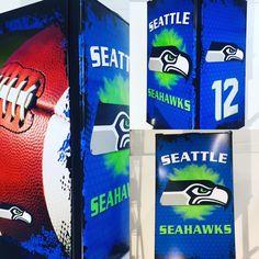 Custom wrapped seattle fridge #seahawks #mancave #husbandgift Beer Fridge, Mini Fridge, Man Cave Fridges, Custom Wraps, Seahawks, Gifts For Husband, Seattle, Custom Design