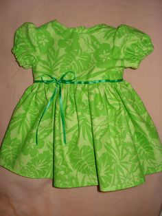 St. Patrick's Day Amercian Girl Doll full skirt dress in lime green floral - ag06. $22.95, via Etsy.