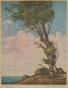 Breezy Day Signed Aquatint Etching by Chicago Artist Floyd Leslie Thompson