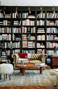 wall of black bookcases and chesterfield