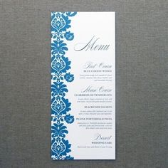 DIY Blue Rococo Wedding and Event menu template from #DownloadandPrint. http://www.downloadandprint.com/templates/rococo-menu-card-template/