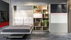 Italian Company Clei has launched the Kitchen Box, which combines hideaway kitchen and Murphy bed in one unit to maximize the space. Multifunctional Furniture, Cool Furniture, Furniture Design, Small Space Living, Small Spaces, Camas Murphy, Fold Up Beds, Kitchen Box, Kitchen Living