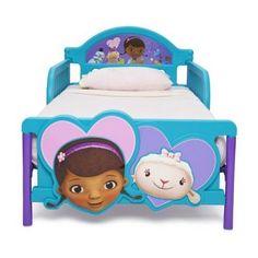 Kids Toddler Bed Frame Doc McStuffins 3D Footboard Girls Bedroom Furniture New   #DeltaChildren #Transitional