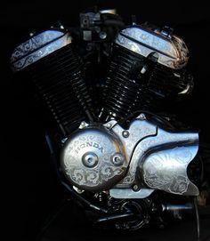 Engraved engine. Bobber Motorcycle, Motorcycles, Honda Steed, Custom Bobber, Bike Ideas, Artworks, Engineering, Heaven, Cars