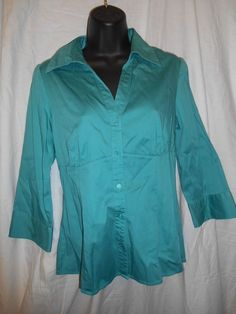 Apt. 9 Essential Size Medium Teal Green Button Down Cotton Spandex Shirt Blouse…