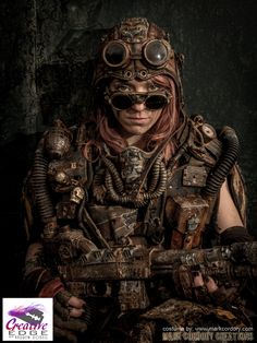 Post Apocalypse Metro 2033 Mad Max LARP costume by Mark Cordory Creations.  Everything you see on this costume is essentially a lie.  There's virtually no real rust, nothing is 'really' particularly old, pretty much anything that looks like metal is in fact plastic.  www.markcordory.com Photograph courtesy & © Creative Edge Studios www.creativeedgestudios.co.uk  Model: Charlie Wild http://purpleport.com/portfolio/wild/