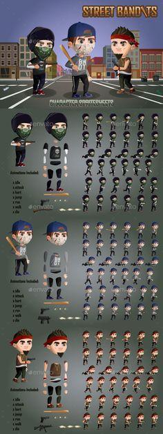 2D Street Bandits Character Sprites - Sprites Game Assets