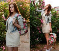 Koton Denim Jacket, H Lace Dress, Accessorize Backpack