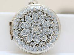 Medaillon Silber Medaillon Schmuck Halskette von emmalocketshop