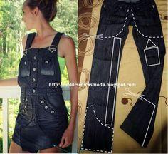 A partir de uma calça jeans faça uma bela saia jardineira. O jeans além de ser um tecido de longa duração, nunca sai de moda é um clássico dos guarda-roupa