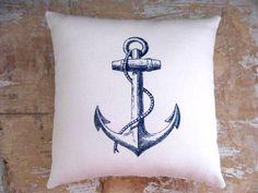 Nautical Pillow, Anchor, Beach, Ocean, Boat, Cottage Decor
