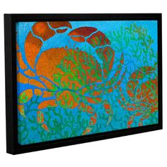 """Beachcrest Home Crabs in Seaweed Framed Graphic Art on Wrapped Canvas Size: 24"""" H x 36"""" W x 2"""" D"""