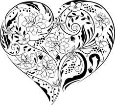 heart shaped coloring pages. Abstract cross Coloring Pages  Stock vector of Black and white plants flowers in 2834285 932613 black heart with floral ornament jpg 480 pixels