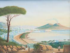 Eugenio Cisterna (Genzano, 1862 - 1933) - Preghiera in riva al mare, 1885 olio su tavola, cm 31,5 x 19 Firmato e datato in basso a sinistra: E Cis / 85