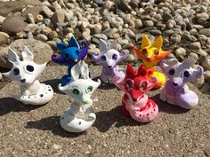 Group shot of Aether Creations Polymer Clay Foxes!