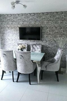 A stunning and superior collection that brings any room to life.  For similar designs visit ilovewallpaper.co.uk #home #decor #interior #wallpaper #ilovewallpaper Brick Wallpaper Silver, Brick Wallpaper Dining Room, Kitchen Wallpaper, Grey Wallpaper, Dining Room Walls, Home Wallpaper, Dining Room Design, Interior Wallpaper, Living Room Update