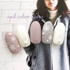 Winter / Christmas / Office / Dating / Hand-nail salon Leam nail design| Nail book, in 2020 Shellac Nails, Nail Manicure, Acrylic Nails, Xmas Nails, Christmas Nail Art, Winter Christmas, Winter Nail Designs, Nail Art Designs, Cute Nails