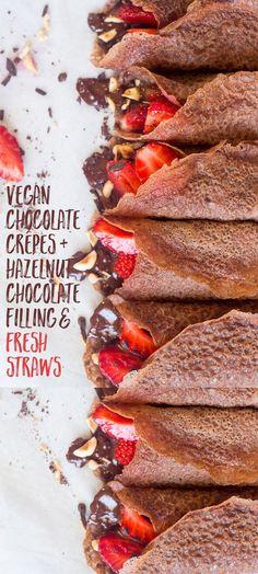 #vegan #chocolate #crêpes with #hazelnut #chocolate filling and fresh…