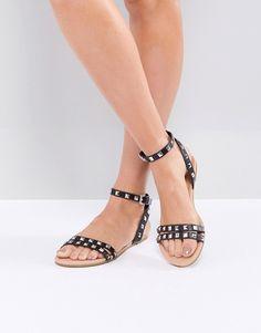 eb2bb137bbc ASOS FIBBING Studded Flat Sandals - Black
