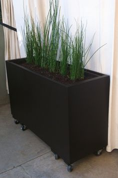 Planter from recycled filing cabinet on castors ~ use non-biodegradable packing peanuts on the bottom to make these less heavy (unless the plants you select have really long roots). I'd love to get my hands on a few abandoned filing cabinets for this purpose...
