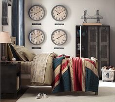 The lockers, the linen, and clocks for all my home cities