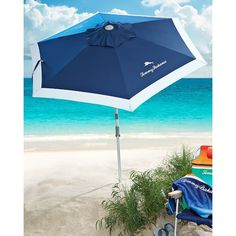 Deluxe 7-foot Beach Umbrella ($65) ❤ liked on Polyvore featuring home, outdoors, patio umbrellas and tilt patio umbrella