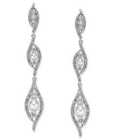 Danori Silver-Tone Imitation Pearl Cubic Zirconia Maeva Linear Earrings, Only at Macy's
