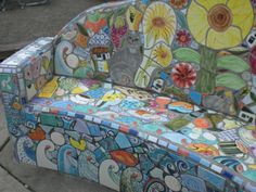 mosaic bench images | Houseboats on Lake Union....