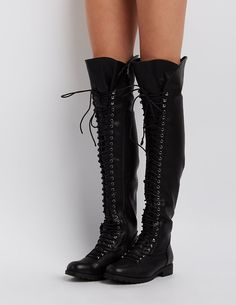 Over-The-Knee Combat Boots   Charlotte Russe