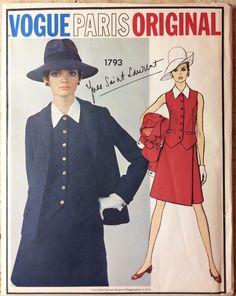 Yves St. Laurent Vogue Uncut Fabric Label Pattern 1960's Factory Folds Mod Suit