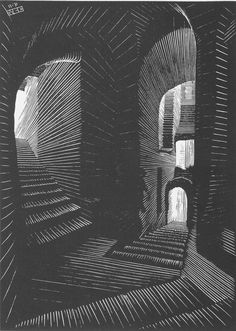Covered Alley in Atrani, [Coast of Amalfi] November Wood engraving by M. Medium: wood engraving on japon; Mc Escher, Escher Kunst, Escher Art, Linoprint, Scratchboard, Arte Popular, Wood Engraving, Linocut Prints, Woodblock Print