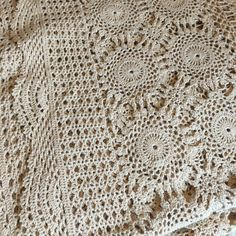 Vintage Ecru Crochet Spread Tablecloth by VintageGirLHome on Etsy