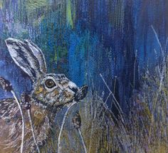 Munching hare 15cm x15cm machine embroidered textile by Rachel Wright such beautiful colours