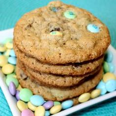 "Just made these Peanut Free Monster Cookies! I am calling them ""Laura's Leftover Monster Cookies"" - we had sooo many Halloween mini chocolate bars, smarties and different treats that I decied to use them with my chocolate chips as well. Turned out Super Yummy!"