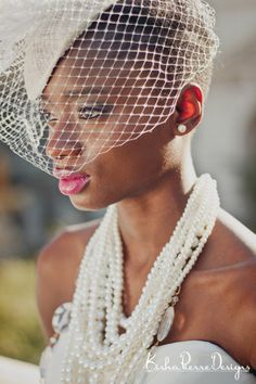 Styled Bridal Shoot- Natural Hair Bride short hair cut  with veil   Photography by http://kishapierredesigns.com/