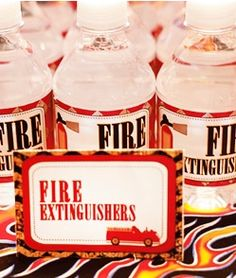 Fire Extinguisher water bottles for Firetruck birthday party!
