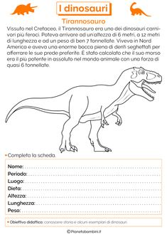 I Dinosauri: Schede Didattiche per la Scuola Primaria | PianetaBambini.it History For Kids, Interesting Animals, Teaching History, Jurassic World, Primary School, Problem Solving, Pixel Art, Back To School, Classroom