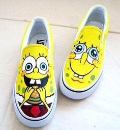 XZ01 SpongeBob HandPainted Girl's women canvas Sneaker Shoes