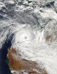 NASA satellite image today, February 26, 2013 of Cyclone Rusty as it slowly encroaches upon the west coast of Australia. Latest estimates from the local weather bureau is that the worst of the storm will impact Port Hedland, about 1,300 kilometers (800 mi.) north of Perth Wednesday evening. The eye of this intense cyclone is 20 nautical miles wide and sustained winds are 230km/h (143mph). Rainfalls of 600mm (24in) are forecast over a 24 hour period. Waves near the coast are already up to…