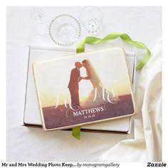 Mr and Mrs Wedding Photo Keepsake Shortbread Cookie