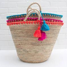 Details on the French Market Beach Basket, Tote Sh / Beach Basket, Rope Basket, Basket Weaving, Hand Weaving, Bohemia Design, Alternative To Plastic Bags, Market Baskets, Art Bag, Basket Bag