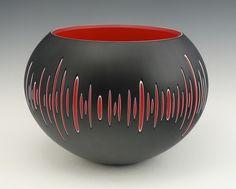 "Nick Leonoff ,""Pulse"" ""I create blown glass using Swedish overlay techniques… Ceramic Bowls, Ceramic Pottery, Ceramic Art, Slab Pottery, Pottery Painting Designs, Pottery Designs, Sgraffito, Glass Vessel, Glass Art"