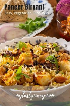 Easy Indian biryani recipe. Authentic Paneer biryani recipe, vegetarian, easy to cook authentic, dum cooked mildly spiced, Indian rice dish that is one-pot meal. Perfect veg dish for potluck or special occasion Vegetarian Rice Dishes, Vegetarian Biryani, Veg Dishes, Potluck Dishes, Side Dishes, Indian Beef Recipes, Goan Recipes, Veg Recipes, Vegetarian Recipes