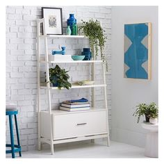 West Elm Mid Century Bookshelf - Wide Tower, Acorn Finish ($599) ❤ liked on Polyvore featuring home, furniture, storage & shelves, bookcases, tower bookcase, midcentury furniture, mid century modern furniture, storage towers and mid-century modern furniture