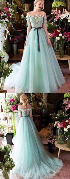 A-line Off-Shoulder Sweep Train Tulle Appliqued Wedding Dresses ASD2570 #weddingdresses #bridaldresses #romantic #princess #floewers