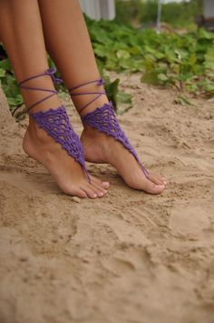 Purple Crochet Barefoot Sandals Nude shoes Foot jewelry by barmine, $15.00