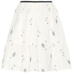 Erdem Levia Jacquard Skirt (27.356.115 VND) ❤ liked on Polyvore featuring skirts, white, erdem skirt, jacquard skirt, erdem, white knee length skirt and white skirt