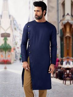 Navy plain designer silk short pathani kurta -  G3-MSP1052 | G3fashion.com Make ankle or floor length and we have a wizards robe wizarding fashion magical style