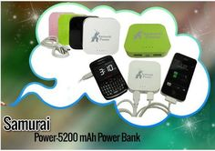 Get the new Samurai Power Bank in multi-colors of following features... Lithium Ion Battery, LED Indicator, 500 Battery Recyles, Automatic Shutdown, Multi-colors, etc..