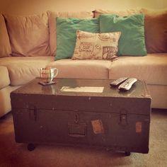 black metal chalk board vintage steamer trunk chest coffee table